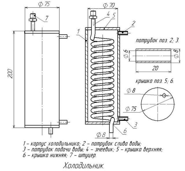 схема изготовления холодильника для самогонного аппарата