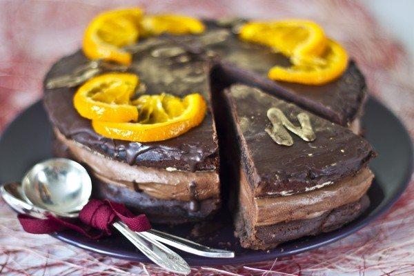 Шоколадно-апельсиновый торт скофейным кремом